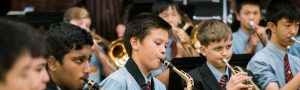 Junior student playing the saxophone
