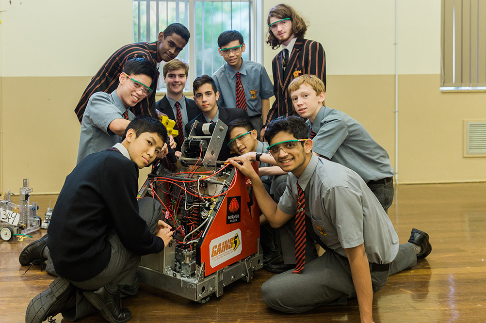 Students who are involved with robotics at the school