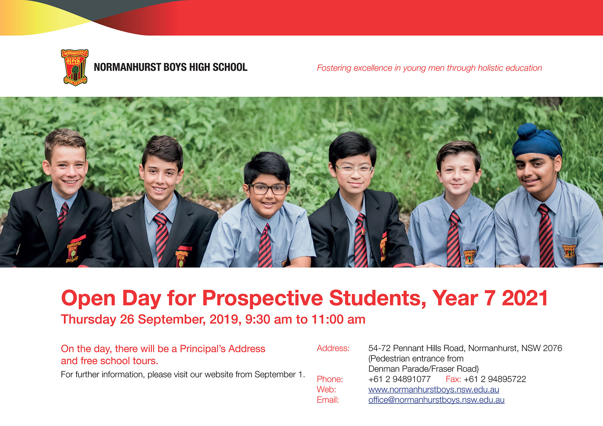 2019 Open Day advertisement